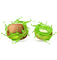 3d realistic kiwi in green splashes vector image vector image