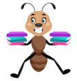 ant holding books on white background vector image vector image