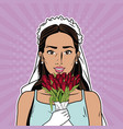 beautiful bride pop art cartoon internet security vector image vector image