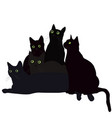 black cats with green eyes vector image vector image