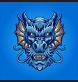 blue angry dragon head logo mascot vector image vector image