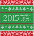 Bright Christmas knitted pattern with trees vector image