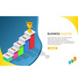 business success isometric web banner vector image
