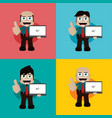 businessman manager at work holding laptop vector image vector image