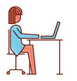 businesswoman sitting desk laptop working vector image