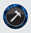 button with blue black tartan - claw hammer icon vector image vector image