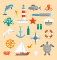 cartoon color sea icons set vector image vector image