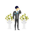 caucasian groom crying during wedding ceremony vector image vector image