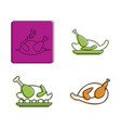 chicken icon set color outline style vector image