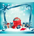 christmas background with a red sack full vector image