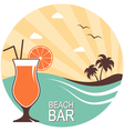 Cocktail over summer landscape vector image vector image