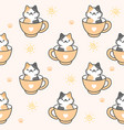 cute cat in a cup coffee seamless pattern vector image vector image