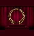 detailed round golden laurel wreath crown award on vector image