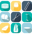 Drum icons 1 Silhouette Flat design vector image vector image