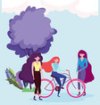 eco friendly transport group with women and bike vector image