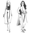 fashion models sketch coat vector image vector image