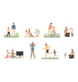 father and son dad raising young boy parenting vector image