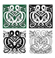 Fighting dragons with celtic knot ornaments vector image vector image