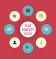 Flat icons act deadline pie bar and other