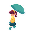 girl keeping umbrella in hand isolated vector image vector image
