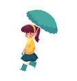 Girl keeping umbrella in hand isolated