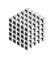 Grey geometric cube of 125 smaller isometric cubes