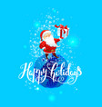 happy santa with gift vector image vector image