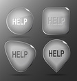 Help Glass buttons vector image