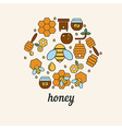 Honey and bee icons in the shape of honeycomb vector image