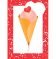 ice cream cone and heart vector image vector image
