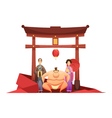 Japanese Culture Retro Composition With Pagoda vector image vector image