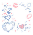 love doodle romantic background vector image vector image