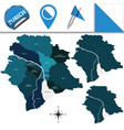 map of zurich with subdivisions vector image vector image