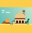 mosque with goats to celebrate eid al-adha vector image vector image