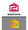 Number 2 logo logotype design vector image vector image