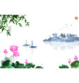 oriental landscape with lotus flowers fishing vector image vector image