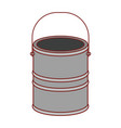 paint bucket in colorful silhouette with thin red vector image