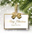 Paper gift card on spruce branches vector image vector image