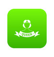 queen icon green vector image