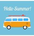 Retro bus with surf board vector image vector image
