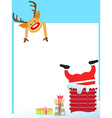 Santa Claus stuck in the chimney card vector image vector image