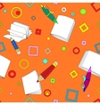 School notes seamless pattern on orange background vector image