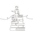 schoolboy - one line design style vector image