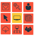 set of 9 web icons includes mouse display vector image vector image