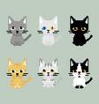 set of cat on pixel art vector image
