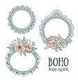 Set of Ornamental Boho Style Frames with flowers vector image vector image