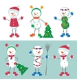 Set of Snowman Snow man vector image vector image