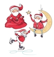 set three santa claus on white background vector image