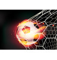Soccer ball in goal net on fire flames vector image vector image