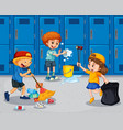 student cleaning the hallway vector image vector image